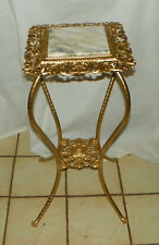 Gold Metal Marble Top Plant Stand  (RP)