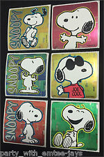Snoopy Stickers x 6 - Foil Design - Birthday Party Favours Lolly Ideas Loot Bags
