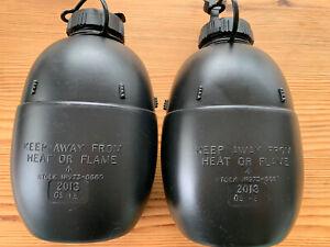 2 Black Military Water Bottles