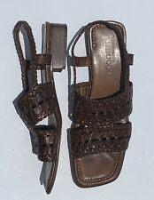 Sesto Meucci Women's Sz 8 Woven Leather Open Toe Slingback Brown Sandals