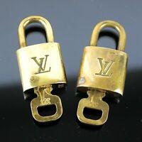 LOUIS VUITTON PadLock Lock Key for Bags Brass Gold Color 2 Pieces Set