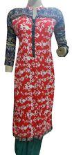 VINTAGE RED KAMEEZ COTTON PAKISTANI KURTA SUMMER TUNIC PRINTED KURTI TOP DRESS