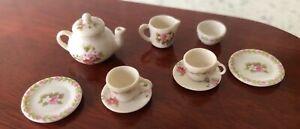 Dolls house miniature 1:12 ARTISAN porcelain 'Roses' tea set by AVON MINIATURES