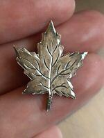 Vintage Pre 1950s 925 Sterling Silver Maple Leaf Brooch Pin ECCO 2.15g