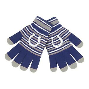 Indianapolis Colts Gloves Acrylic Stripe Knit Sports Logo Winter Texting Tips