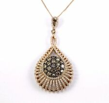 Round Brown Diamond Cluster Lady's Necklace Pendant 14K Rose Gold 3.11Ct
