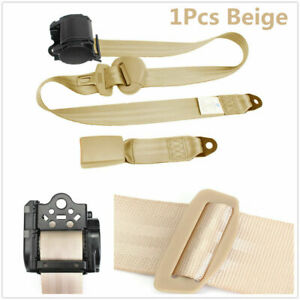 1X Beige Retractable Seat Belt 3 Point Auto Car Truck Lap Adjustable Safety Belt