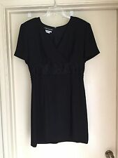 Donna Morgan Black Beaded Applique Empire Waist SS Cocktail Dress Short 12 EUC