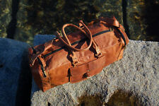 "Men's 24"" genuine Leather large vintage duffle travel gym weekend overnight bag"
