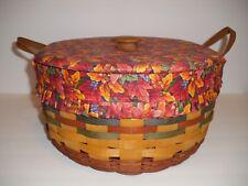 Longaberger 1995 Shades of Autumn Basket of Plenty, Liner, Protector & Lid