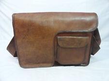 """Vintage Leather Messenger Bag 17"""" Laptop Satchel School CrossBody Shoulder Bags"""