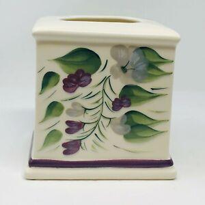 Wisteria Ceramic Square Tissue Box Holder Cover White w/ Purple & Green Floral
