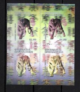 Grenadines 1998 - Lunar New Year Of The Tiger - Hologram Sheet of 4 - MNH