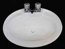 Mobile Home RV Parts. Bathroom Lav Sink w/ Faucet, Drain & Hardware White 20x17