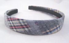 "New Denim Plaid Pattern Multi Colored 1"" Wide Headband #H0100"