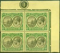Dominica 1927 5s Black & Green-Yellow SG88 Fine MNH Pl 1 Corner Block of 4