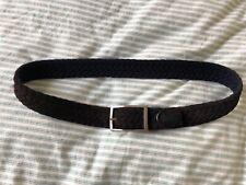 Mens Simonnot Godard Dark Brown Suede Navy Wool Woven Belt Silver Buckle 32 34