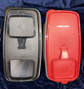 2 Tupperware Super Cereal Storers 1 Red Lid 1 Black Lid 20 cup capacity USED