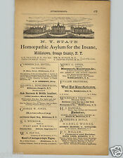 1878 PAPER AD New York State Homeopathic Asylum for the Insane Middletown Orange