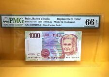 """1990 Italy, Banca D'Italia 1000 Lire P114c* """"Replacement/Star"""" Banknote PMG 66"""