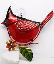 Cardinal Bird Sun Catcher Regal Art, New, Hand Painted Glass, Red Green Orange