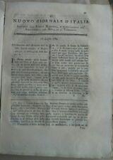 1789 RIVISTA NUOVO GIORNALE D'ITALIA: RAPE MONTECCHIO EMILIA E DALMAZIA AGRICOLA