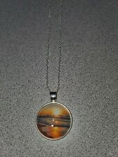 SUNSET ON THE WATER UNISEX SILVER PENDANT NECKLACE ADULT / KID NEW ORGANZA BAG