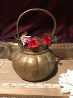"Antique Vintage Asian Brass Teapot/Planter Dragon & Etched Design 8 1/2""x6 1/2"""