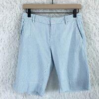 GAP Seersucker Bermuda Shorts Blue White Mid Rise Pockets Summer Womens Size 0