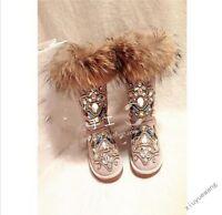 New Fashion Womens Fur Winter Thicken Warm Knee Snow Boots rhinestone Shoes Size