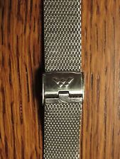 "VINTAGE MENS SIGNED WALTHAM STAINLESS MESH WATCH BAND 17.5mm 18mm 11/16"" NOS NEW"