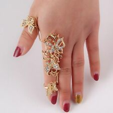 Gold Color Link Chain Crystal Rhinestone Full Finger Rings Flower Butterfly