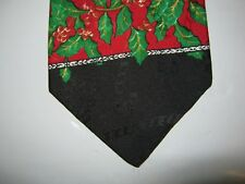 Hallmark Yule Tie XMAS Necktie 57 x 3.75 Christmas Holly black green red 14362