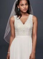 Wedding Dress Beautiful A-Line With Lace Detail, Custom Belt, Floor Length