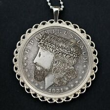 1921 Morgan Dollar Silver Coin Hobo Nickle Style Necklace - Hand Carved Jesus