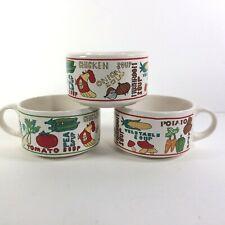 More details for vintage 70s soup bowl mugs with handles x 3 retro novelty motifs pop art