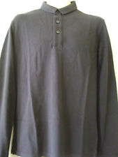 """NEW £40 SUPERDRY LARGE 40"""" CHEST BLACK LONG SLEEVED CITY POLO TOP"""