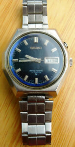 Vintage Seiko Bellmatic Blue Dial Stainless Steel Day Date Alarm Watch 4006-6050