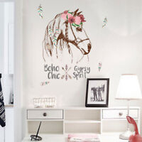 HB- CO_ Removable Flower Horse Head Feather Home Wall Art Decal Sticker Decor Na
