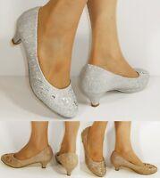 Ladies Diamante Low Kitten Heel Evening Party Bridal Court Shoes Pumps Size-331