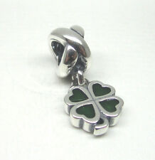 Authentic Pandora #790572EN25 Four Leaf Clover Green and Silver Dangle Bead