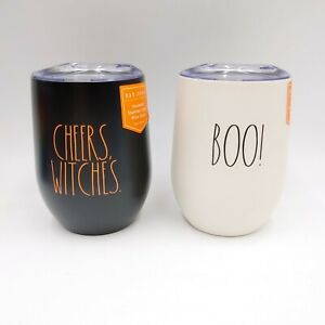 Rae Dunn Halloween 2020 CHEERS WITCHES & BOO Insulated Steel Stemless Wine Glass