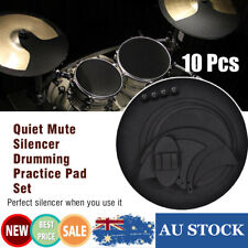 10x Drum Pads Mute Silencer Drumming Practice Rubber Pad Bass Drums Sound off JA