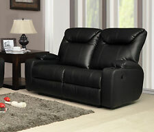 New Luxury Cinema Hollywood 2 Seater Bonded Leather Recliner Sofa/Settee - Black