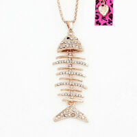 Betsey Johnson Clear Crystal Rhinestone Fish Bone Pendant Sweater Chain Necklace