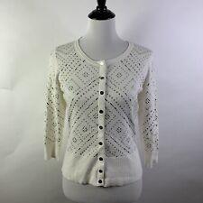 WHBM Cardigan Sweater Medium Ivory Snap Front Studs Embellished $98