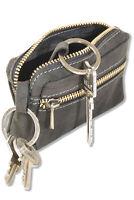 Woodland® Große Leder Schlüsseltasche mit Extrafach in Anthrazit aus Büffelleder