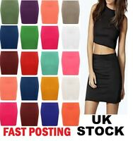SOLID COLOR SEAMLESS STRETCH TIGHT SHORT FITTED BODYCON CLUBWEAR MINI SKIRT sw