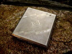 bezauberndes altes Zigarettenetui Zigarettendose versilbert 80g Monogramm EB