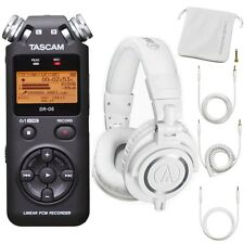 Tascam DR-05 PCM Portable Digital Recorder & Audio Technica M50X White Headphone